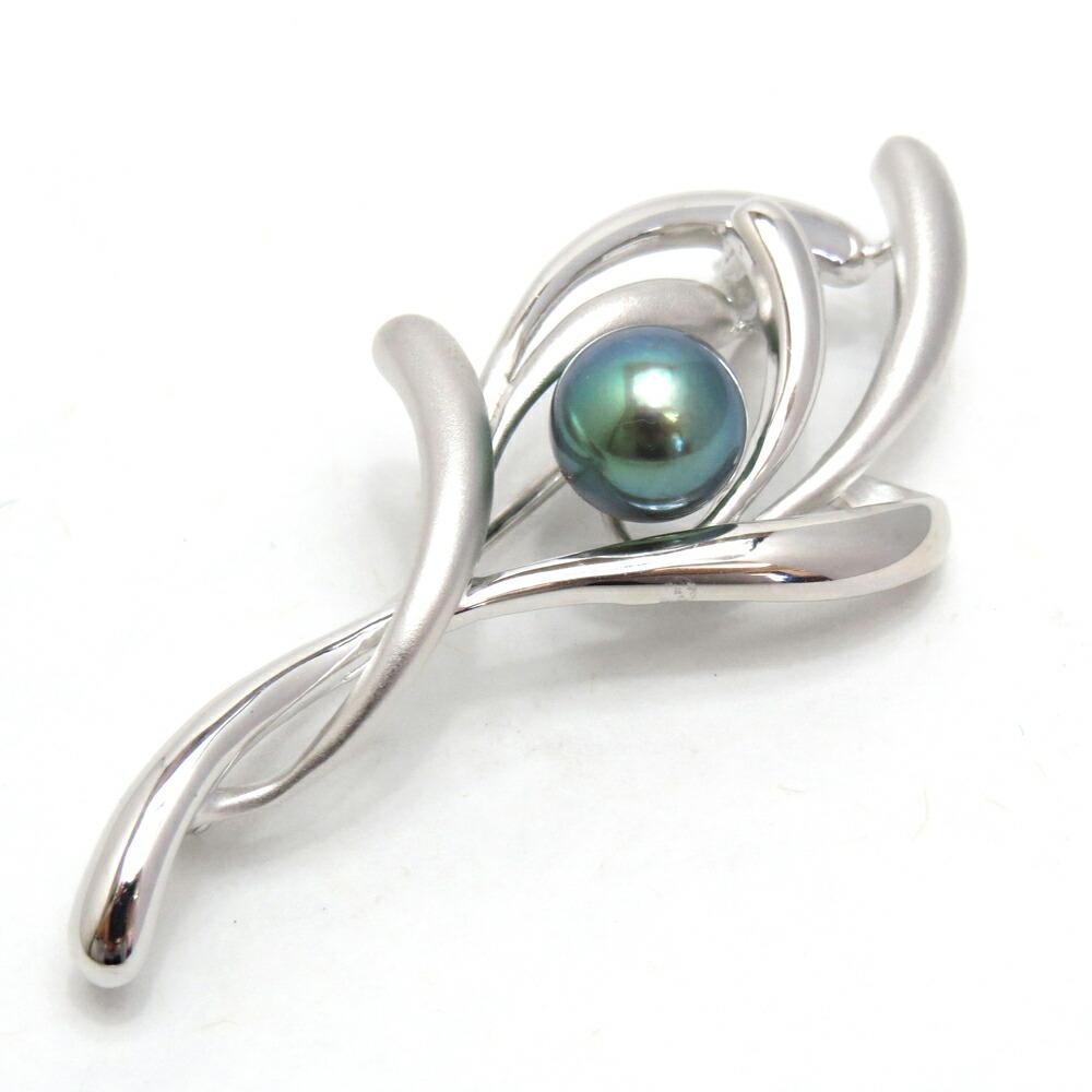 シンプルでつけやすいデザイン輝く黒真珠が雰囲気をしっかりと締めてくれますアコヤ黒真珠ブローチ