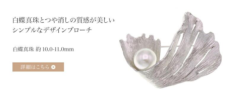 白蝶真珠ブローチ 約10.0-11.0mm ラウンド〜セミラウンド SV y-b-168