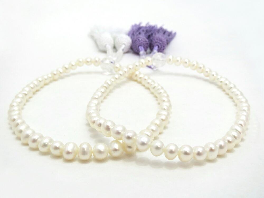 上品で繊細ながらも可愛らしい淡水真珠念珠
