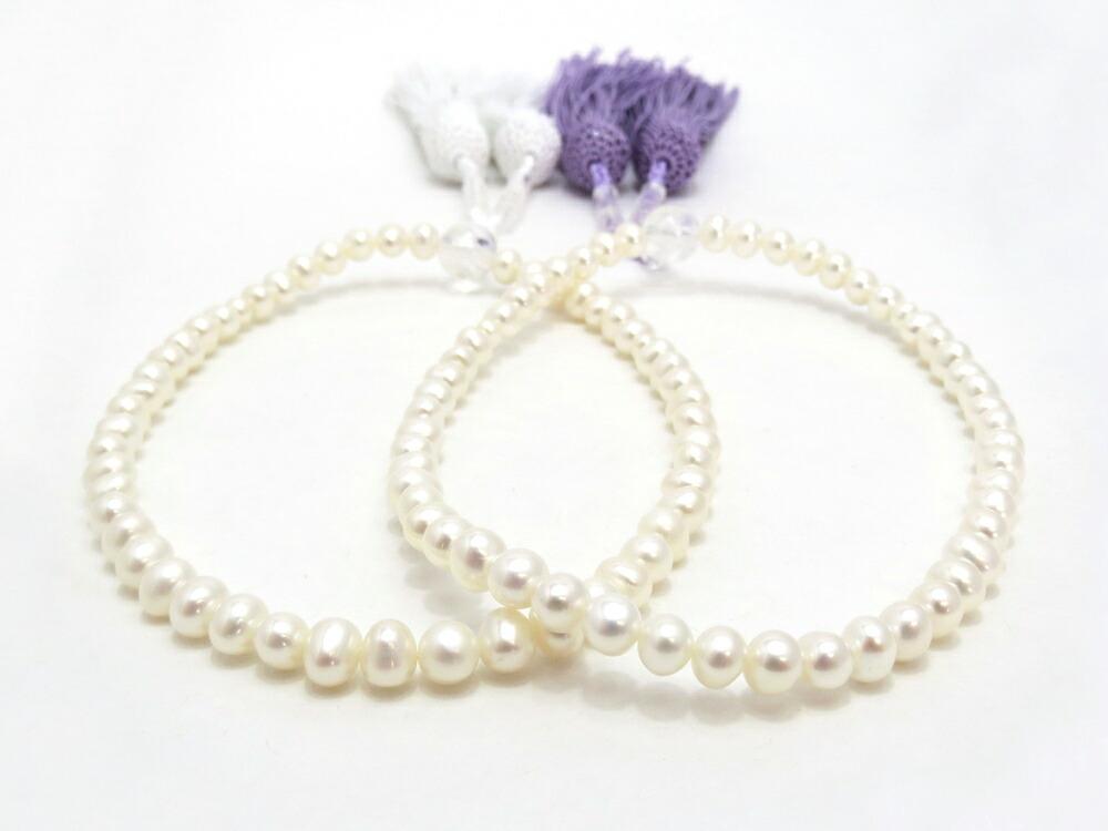 小ぶりで可愛らしい  淡水真珠の念珠