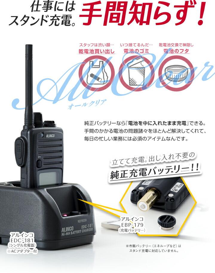 ALINCO DJ-P221 フルセット | 仕事にはスタンド充電。手間知らず!
