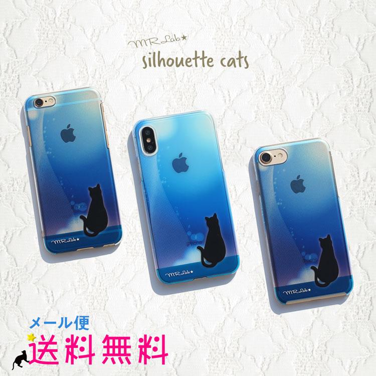 iPhoneX/8/7/6s ブルー黒猫