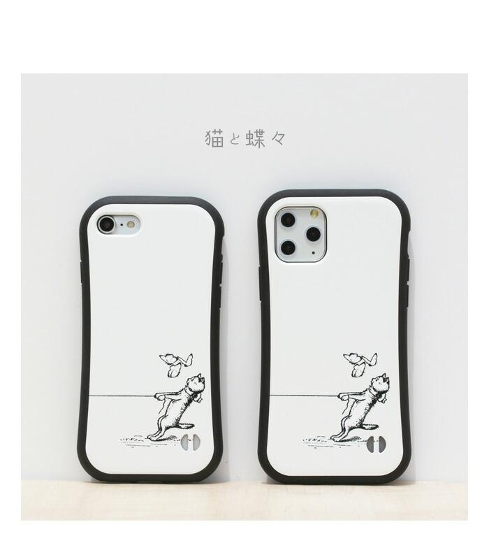 iface_楽天iPhoneケース_猫と蝶_white