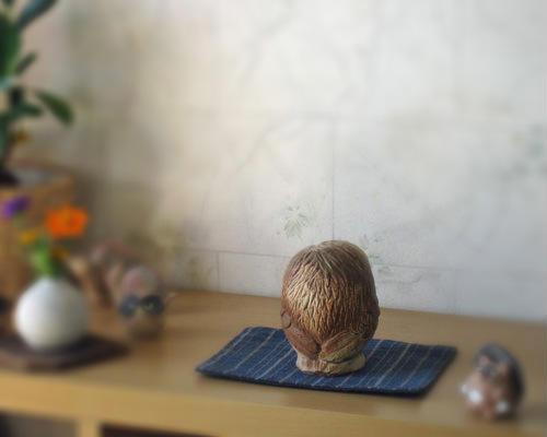 信楽焼のふくろう/陶器のフクロウ
