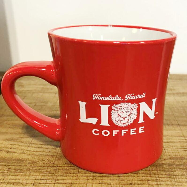ライオンコーヒーマグカップ 赤