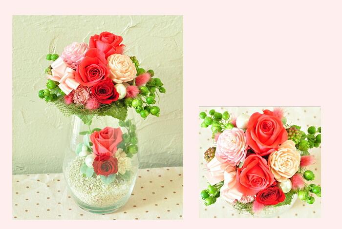 【ルージュピンク】プリザーブドフラワーのお店ムニュムニュ【Flower Munyu Munyu】