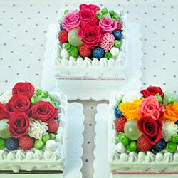 【ケーキ・スクエア very berry】プリザーブドフラワーのお店ムニュムニュ【Flower Munyu Munyu】