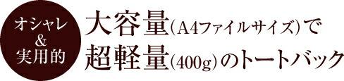 大容量(A4ファイルサイズ)で超軽量(400g)のトートバック キキ2 クリ手トートM