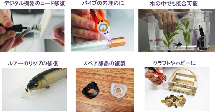 ■様々な素材に対応!プラスチック、金属、木材、石、レンガ、ガラス、セラミックなど ありとあらゆる素材に接合可能!■BONDICを使用できないものポリエチレン(食品容器等)、ポリプロピレン(CDケース等)、フッ素樹脂(テフロン)、シリコーンゴム(パッキン等)、食器のひび割れ、接着面積が小さいもの、発泡スチロール、アクリル樹脂等■BONDICの使用用途パイプ漏れの修復、欠けたルアーの修復、部品の複製、など様々なシーンで活躍します。