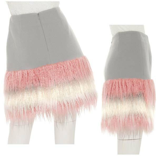 LILY BROWN,リリーブラウン,裾ファー台形スカート,lwfs174013