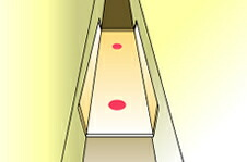 in narrow space and close area