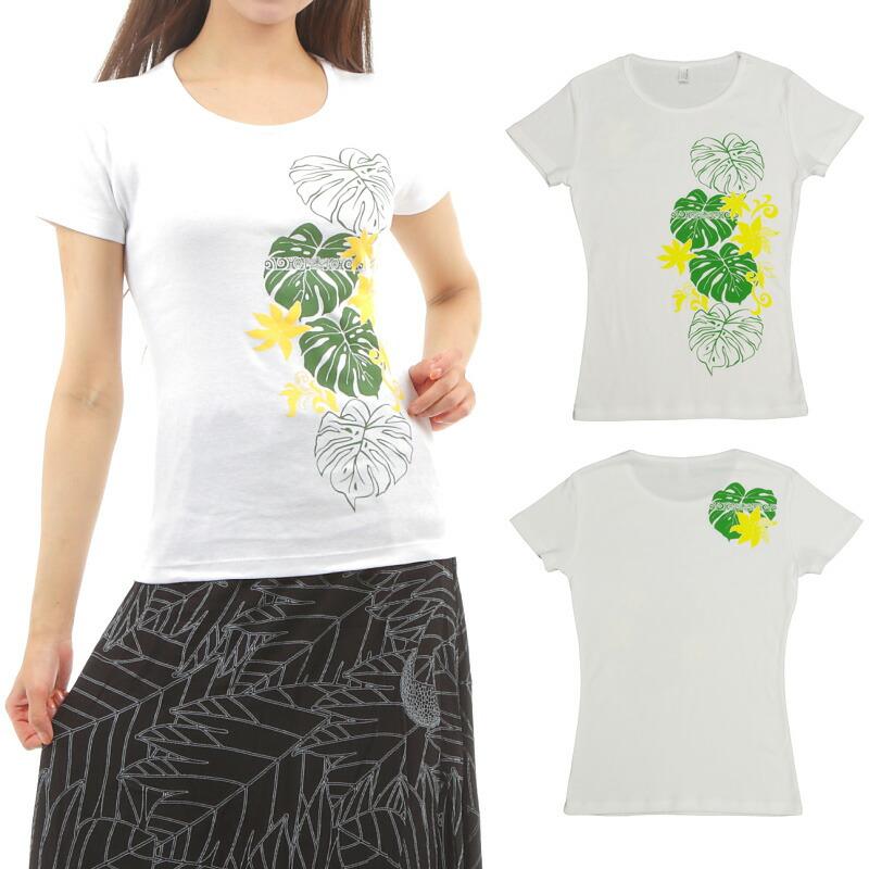 フラダンス 速乾加工 フライス 半袖 Tシャツ タヒチアンモンステラ柄 白×緑&黄色プリント
