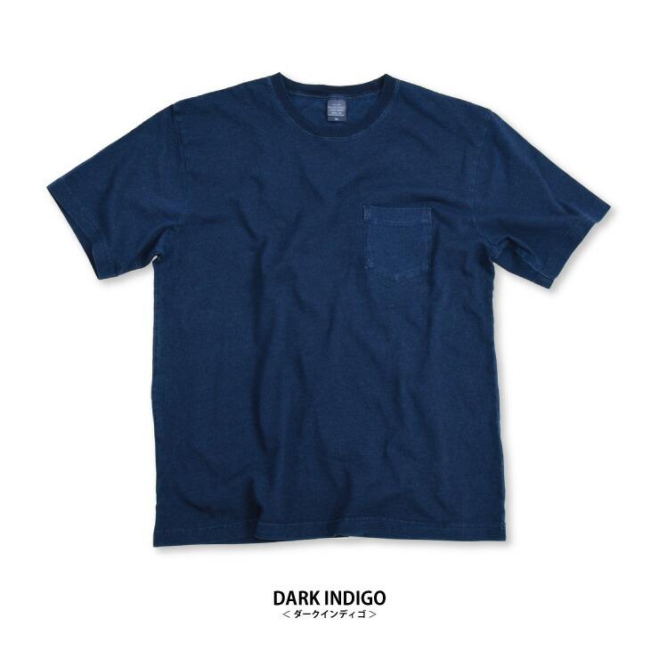 インディゴ ポケット Tシャツ