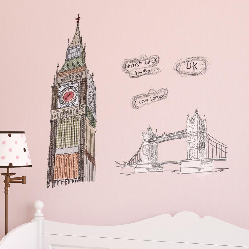 ウォールステッカー おしゃれ 北欧 手書き イラスト 女の子 イギリス 英国 ロンドン 英字 英文 モダン 街 景色 風景 トイレ 大きい カフェ キッチンドア シンプル 窓 玄関 マイステッカー