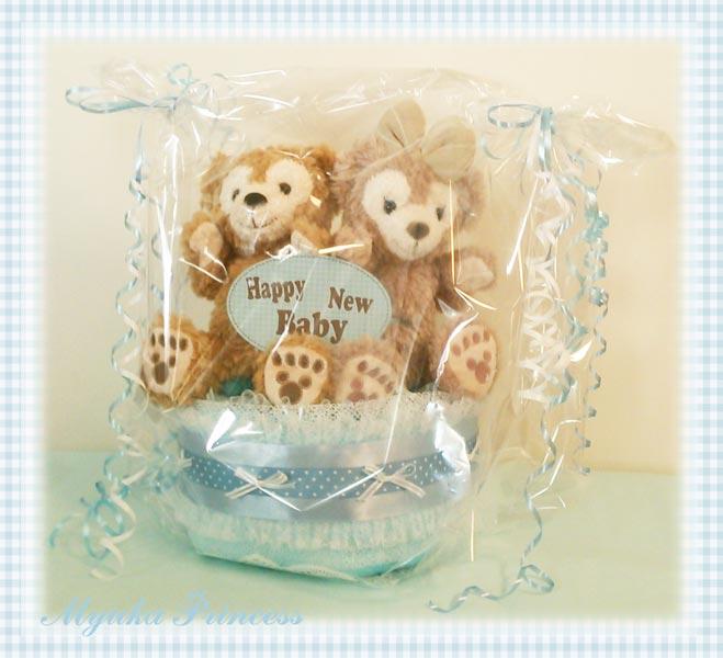 おむつケーキ 男の子 出産祝い ディズニー ダッフィー  東京ディズニーシー オムツケーキ ブルー クマ ぬいぐるみ 新生児
