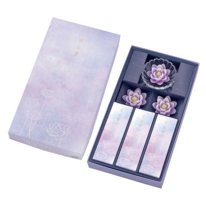 蓮水香 白檀の香り/蓮ローソク(紫)