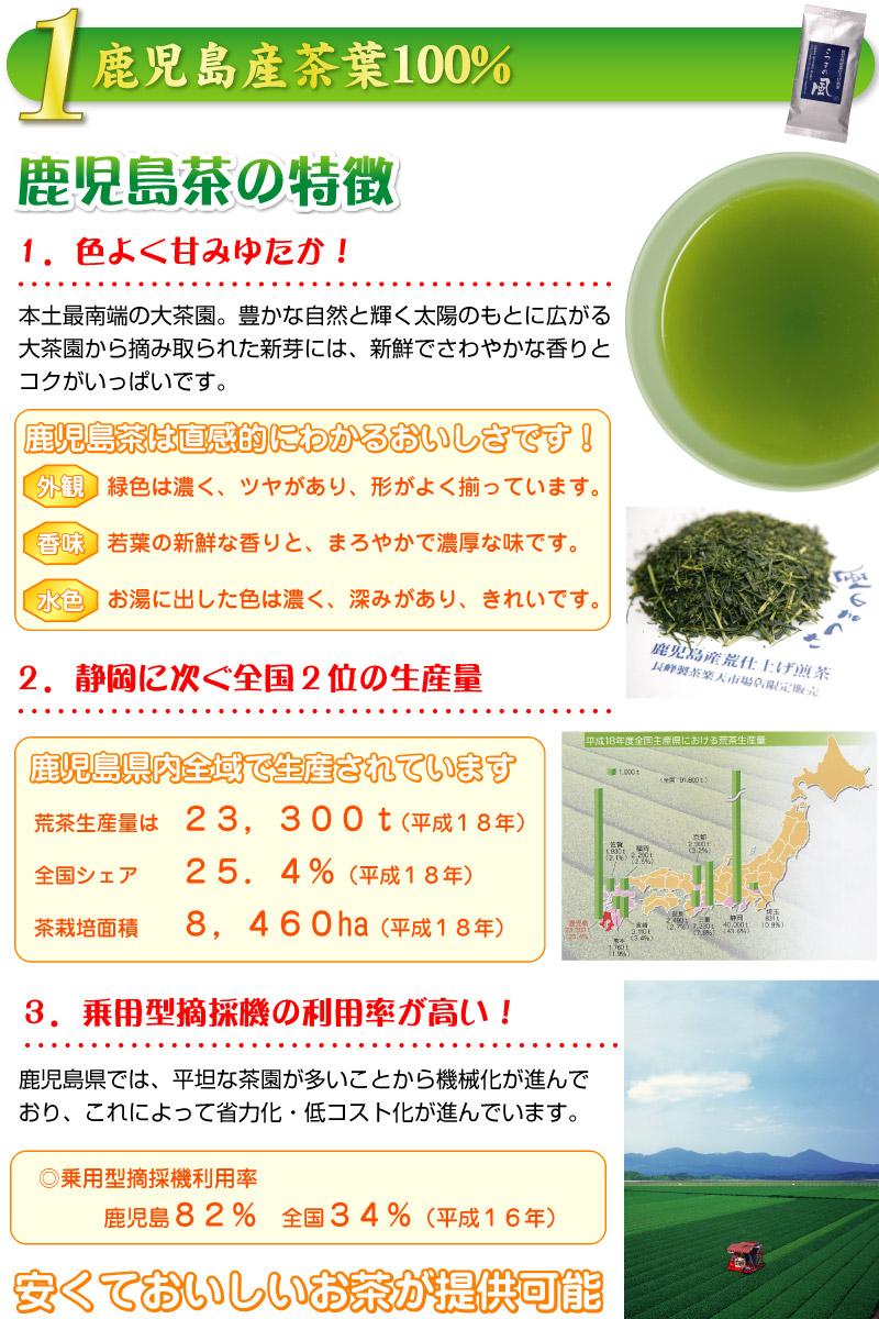 茶葉は鹿児島産100% 荒造り煎茶