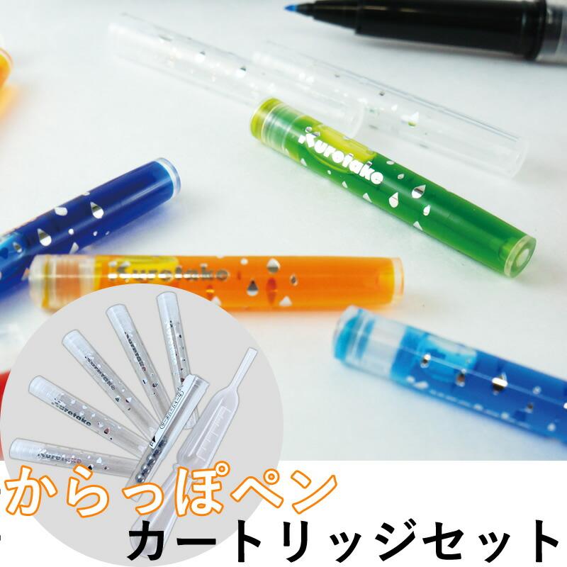 【先行販売】からっぽペン用カートリッジセット スポイト付き ECF160-699 好きなインクを補充できるカートリッジ