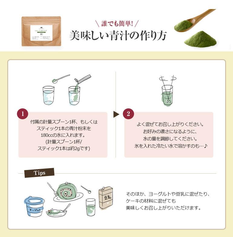 誰でも簡単!美味しい青汁の作り方。