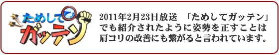 2011年2月23日放送「ためしてガッテン」でも紹介されたように姿勢を正すことは肩コリの改善にも繋がると言われています。