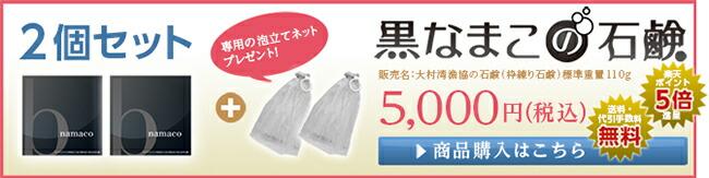 黒なまこの石鹸2個セット:5,000円泡立てネット付き・送料無料・楽天ポイント5倍