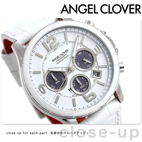 Angel clover solar chronograph 47mm men's watch white TCS44SWH-WH ANGEL  CLOVER thyme craft leather belt clock