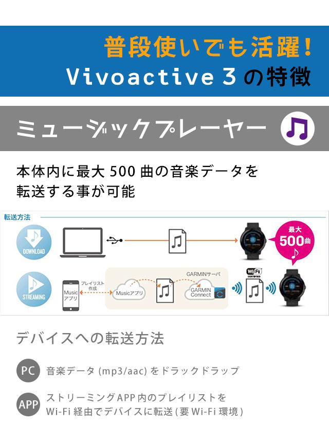 ガーミン GARMIN vivoactive 3 Music GPS smart watch digital 010-01985-43 watch  black X gray clock