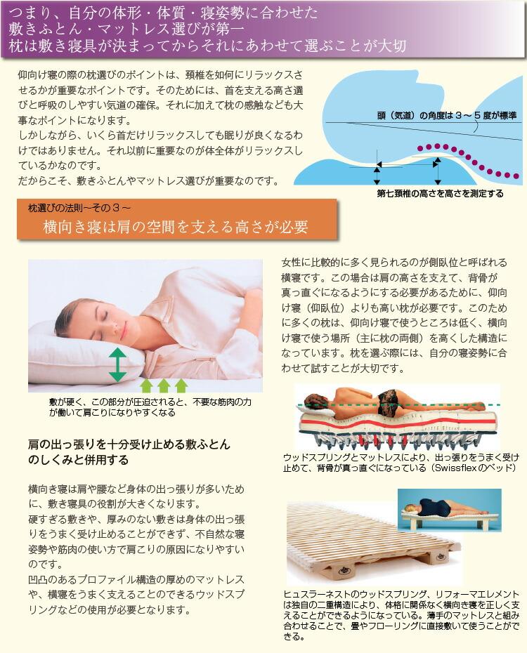 つまり、自分の体形・体質・寝姿勢に合わせた 敷きふとん・マットレス選びが第一 枕は敷き寝具が決まってからそれにあわせて選ぶ 仰向け寝の際の枕選びのポイントは、頚椎を如何にリラックスさせるかが重要なポイントです。そのためには、首を支える高さ選びと呼吸のしやすい気道の確保。それに加えて枕の感触なども大事なポイントになります。 しかしながら、いくら首だけリラックスしても眠りが良くなるわけではありません。それ以前に重要なのが体全体がリラックスしているかなのです。 だからこそ、敷きふとんやマットレス選びが重要なのです。 横向き寝は肩の空間を支える高さが必要 女性に比較的に多く見られるのが側臥位と呼ばれる横寝です。この場合は肩の高さを支えて、背骨が真っ直ぐになるようにする必要があるために、仰向け寝(仰臥位)よりも高い枕が必要です。このために多くの枕は、仰向け寝で使うところは低く、横向け寝で使う場所(主に枕の両側)を高くした構造になっています。枕を選ぶ際には、自分の寝姿勢に合わせて試すことが大切です。 肩の出っ張りを十分受け止める敷ふとん のしくみと併用する  横向き寝は肩や腰など身体の出っ張りが多いために、敷き寝具の役割が大きくなります。 硬すぎる敷きや、厚みのない敷きは身体の出っ張りをうまく受け止めることができず、不自然な寝姿勢や筋肉の使い方で肩こりの原因になりやすいのです。 凹凸のあるプロファイル構造の厚めのマットレスや、横寝をうまく支えることのできるウッドスプリングなどの使用が必要となります。
