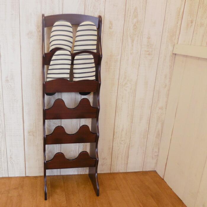 木製 スリム スリッパラック 5段 BR 画像