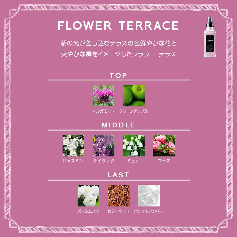 ネイチャーラボ公式:ランドリン 柔軟剤 フラワーテラスの香り 詰め替え 480ml・イメージ写真5