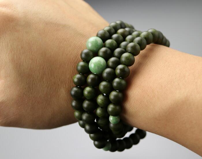 108玉 緑檀 数珠ブレスレット