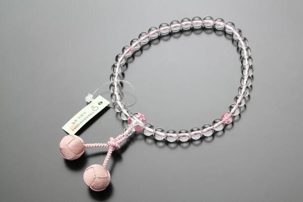 数珠 女性用 本水晶 桜彫り