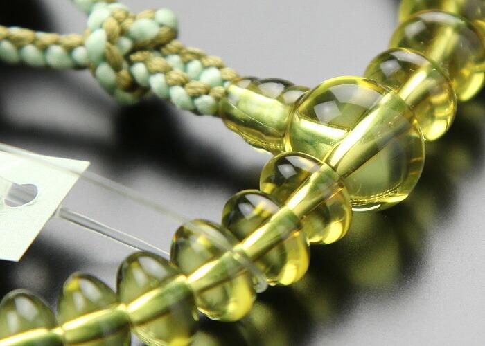 グリーン琥珀 数珠