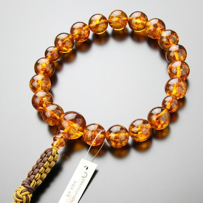 数珠,男性用,琥珀,アンバー,京念珠,紐房,浄土真宗