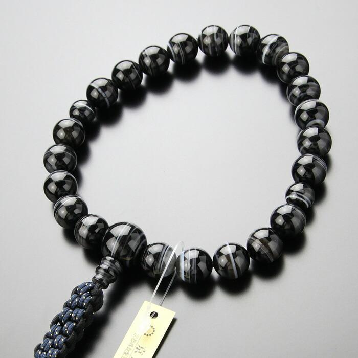 黒縞瑪瑙,数珠,男性用