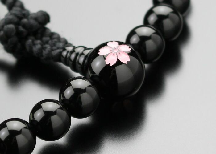 オニキス 桜彫り 数珠