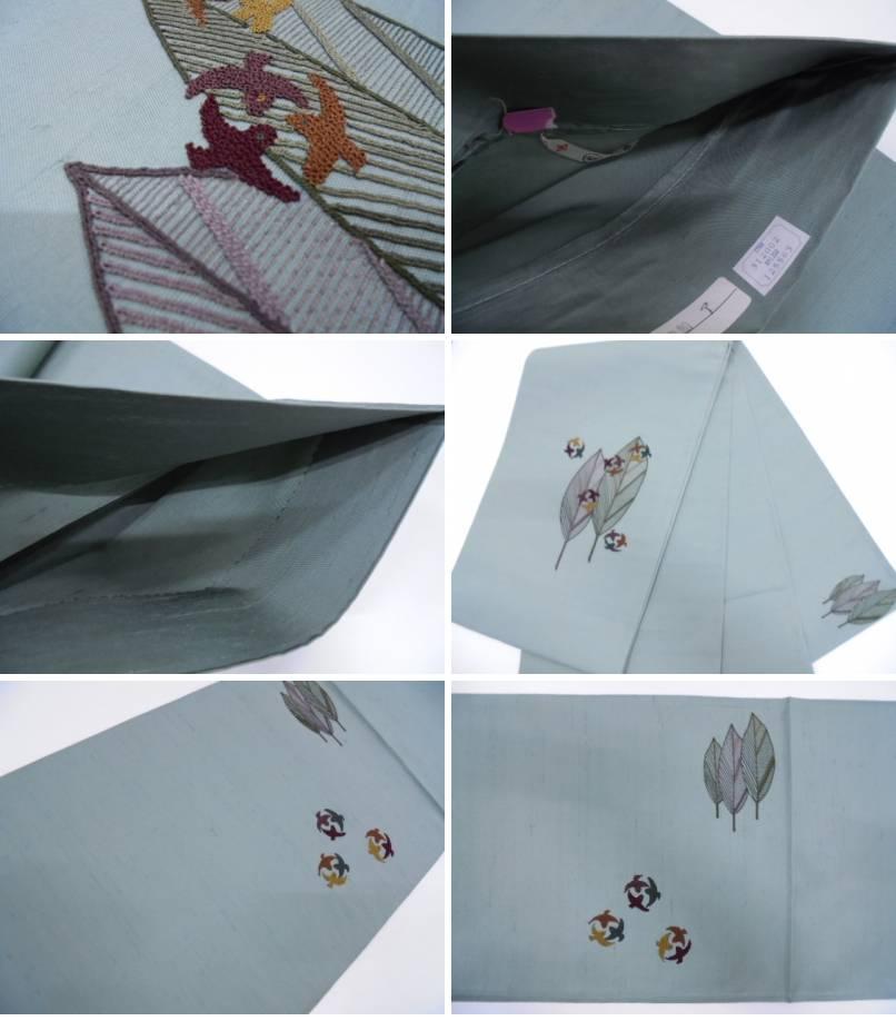 2efe054655d2ef 未使用品 AB 手織り紬相良刺繍樹木に鳥模様袋帯(未仕立て)【リサイクル】【中古】