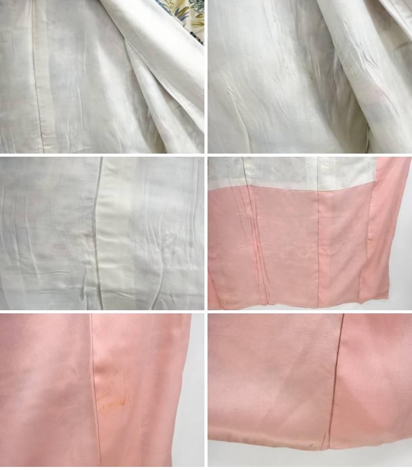 a5c3500885f0f (出し) 後幅27前幅22つま下74. 状態:よい素材:正絹色目:オフホワイト衿は広衿です。 胴裏に点アク、薄アク、薄ジミが有ります。
