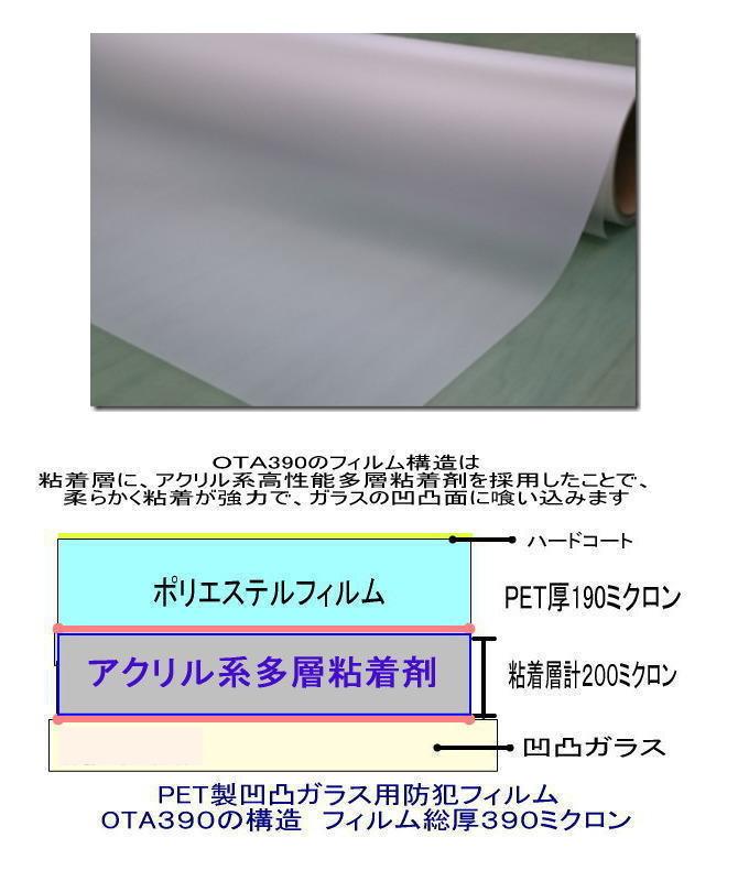 OTA390は粘着層の厚い凹凸ガラス専用防犯フィルムです