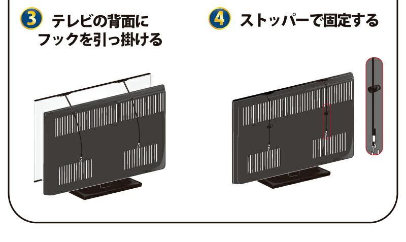3.テレビの背面にフックを引っ掛ける 4.ストッパーで固定する