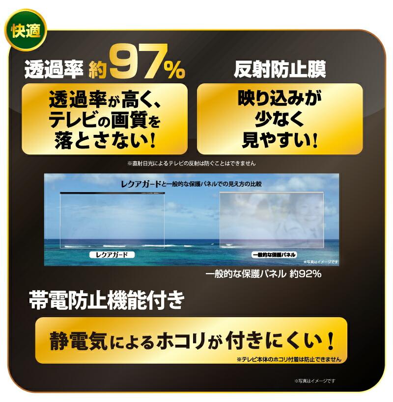 透過率約97%:透過率が高く、テレビの画質を落とさない!反射防止膜:映り込みが少なく見やすい!帯電防止機能付き:静電気によるホコリが付きにくい!