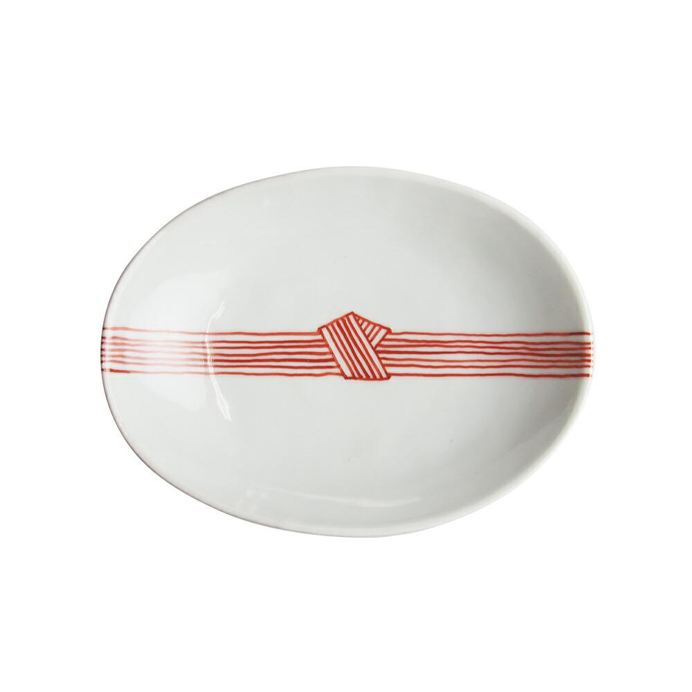 日下華子 九谷焼 赤絵帯締め 楕円浅鉢 #184