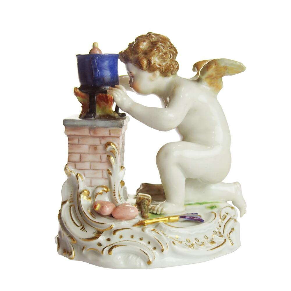 アンティーク<br>マイセン (Meissen)<br>ハートを造る天使<br>1800年頃