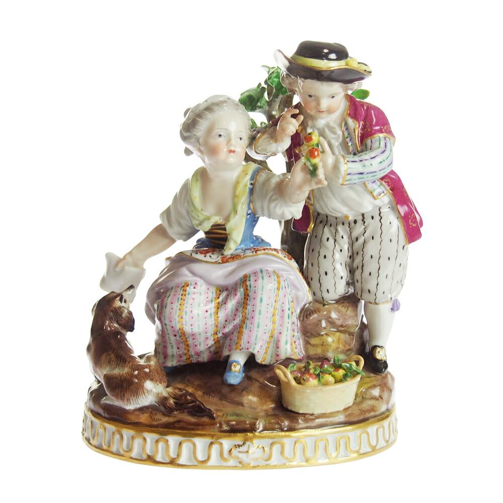 アンティーク<br>マイセン (Meissen)<br>フィギュリン 庭師の男女の子<br>1800年頃<br>【店頭併売品のため完売の場合がございます】