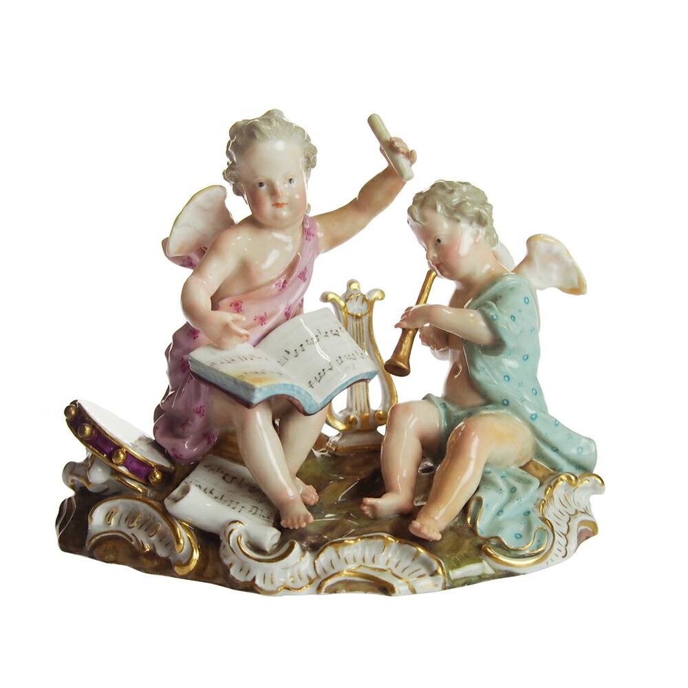 アンティーク<br>マイセン (Meissen)<br>フィギュリン 楽器を奏でる天使<br>1800年頃<br>【店頭併売品のため完売の場合がございます】