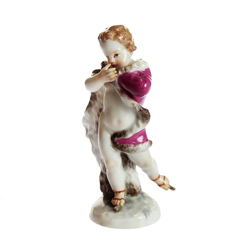 アンティーク<br>マイセン (Meissen)<br>フィギュリン スケートをする子供<br>1800年頃<br>【店頭併売品のため完売の場合がございます】