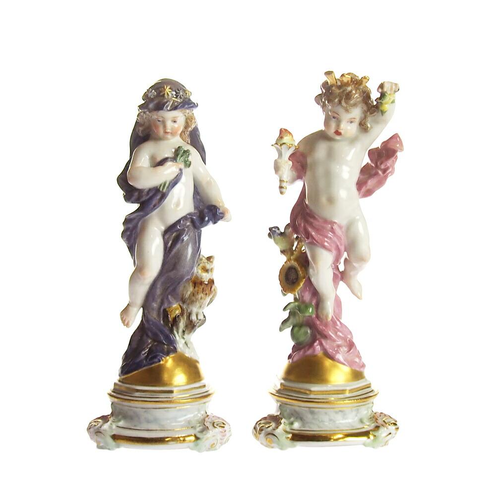 アンティーク<br>マイセン (Meissen)<br>フィギュリン デイ&ナイト 1800年頃【店頭併売品のため完売の場合がございます】