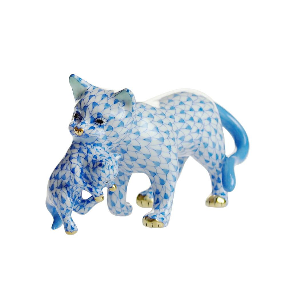 ヘレンド (HEREND) 人形 VHB 子猫をくわえた猫 05551【あす楽対応】