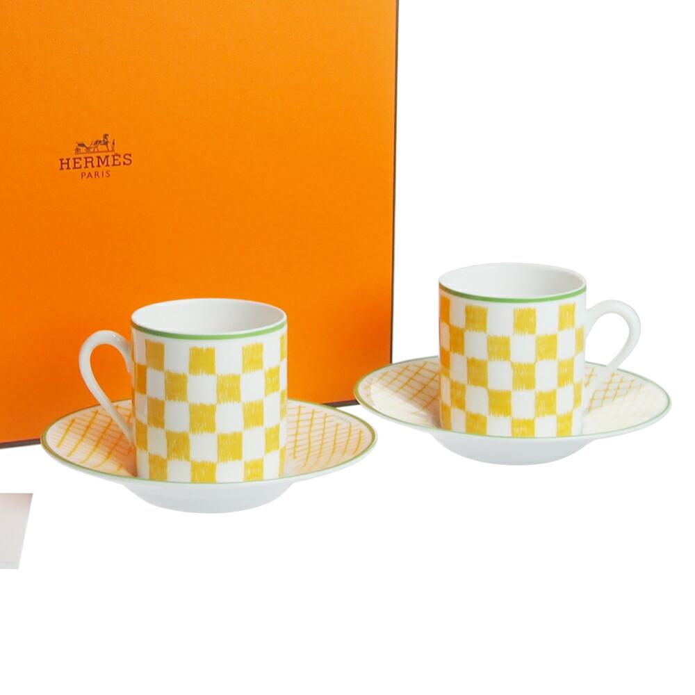 エルメス (HERMES) ウォーク・イン・ザ・ガーデン コーヒーカップ&ソーサー イエロー ペア 043117P2