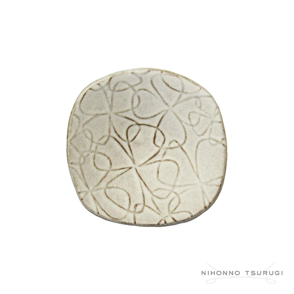 葛西国太郎 HANI 白マット 豆皿 CLOVER